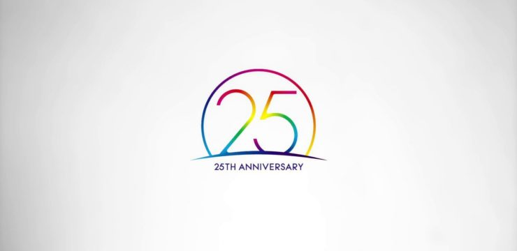 25 Anniversary logo in rainbow colours on a white background.
