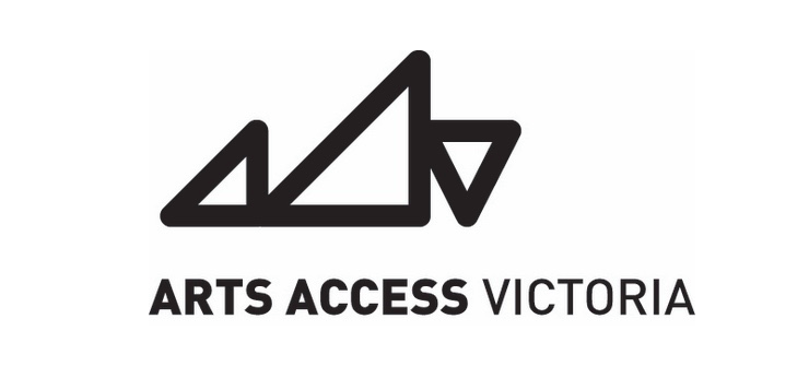 Three black triangles, the first two mimicking the shape of an A and the third mimicking the shape of a v, with the words Arts Access Victoria underneath