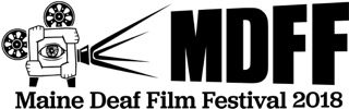 MDFF Logo: Old film camera projecting the initials MDFF. Underneath is written Maine Deaf Film Festival 2018. Black on white.