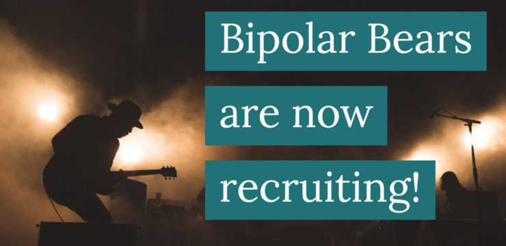 Silhouette image of a guitarist on stage. the words Bipolar Bears are now recruiting! are overlaid on the image