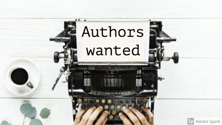 Photo of hands at a typewriter. There is a sheet of paper in the typewriter with the words 'Authors wanted' typed on it
