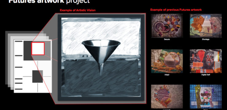 Image showing a series of artworks depicting different expressions of the future.