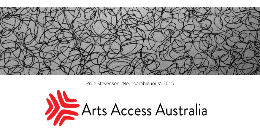Arts Access Australia logo with artwork by Prue Stevenson