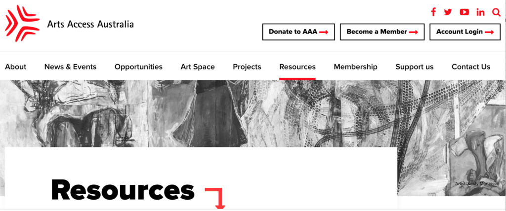 "A black and white photo takes pride of place on the AAA website. The photo is in banner format, long and narrow. It is black and white, and depicts four people holding signs that say inspirational, little person, handicapped. Above the photo is the menu for the AAA website. On top of the photo, at the bottom, is a large heading reading ""Resources""."