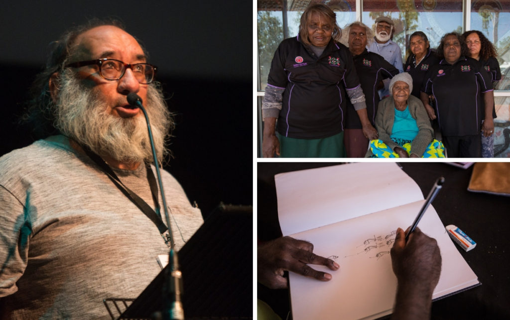 Three photos. Left: A man in his 60s with a big white beard and glasses speaks into a microphone on stage. Top right: five women in matching polo shirts stand around an older woman seated in a wheelchair. A man with white hair stands behind the seated woman. Bottom right: close up of hands holding a pencil and a drawing of dogs on a piece of paper.