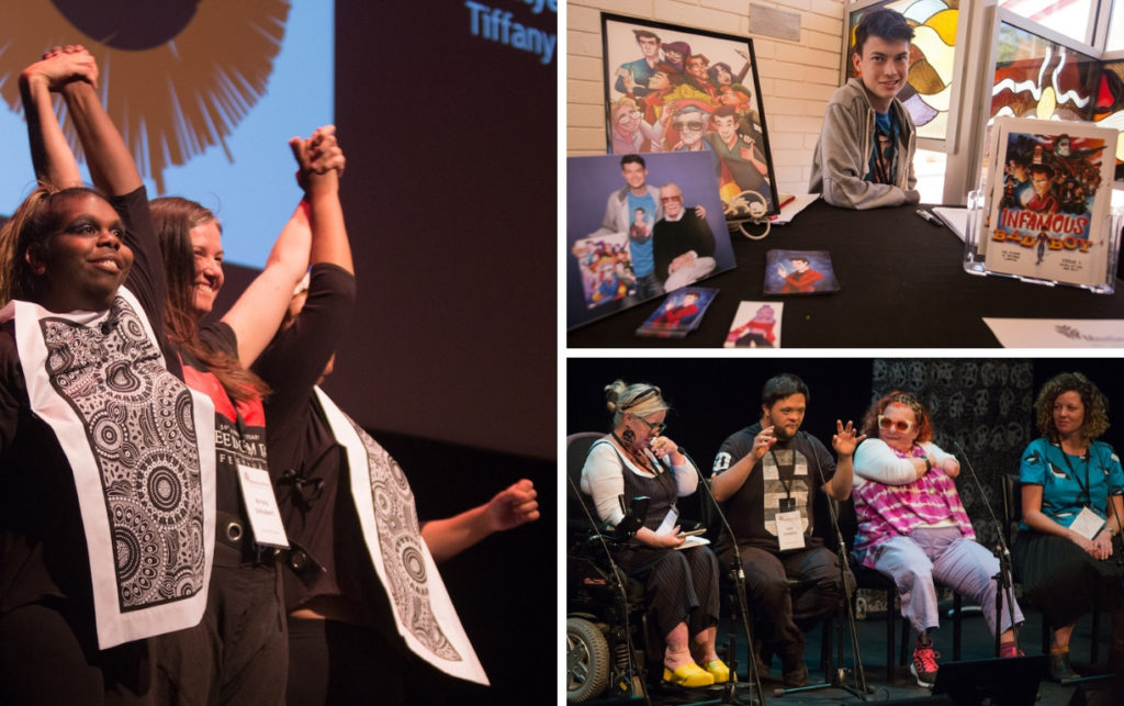 Collage of three photos. Left: three people hold up their hands in victory on stage. On the far right and left are two teenage girls wearing special outfits with an Indigenous design. Top right: a teenage boy sits at a desk which has a display of photos and comic books. Bottom right: Four people sit on stage. The middle man is speaking with his arms in the air. The other three panellists are listening.