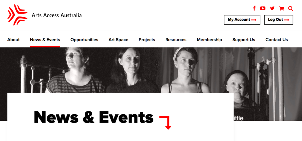 A black and white photo takes pride of place on the AAA website. The photo is in banner format, long and narrow. It is black and white, and depicts four people holding signs that say inspirational, little person, handicapped. Above the photo is the menu for the AAA website. On top of the photo, at the bottom, is a large heading reading News and Events.