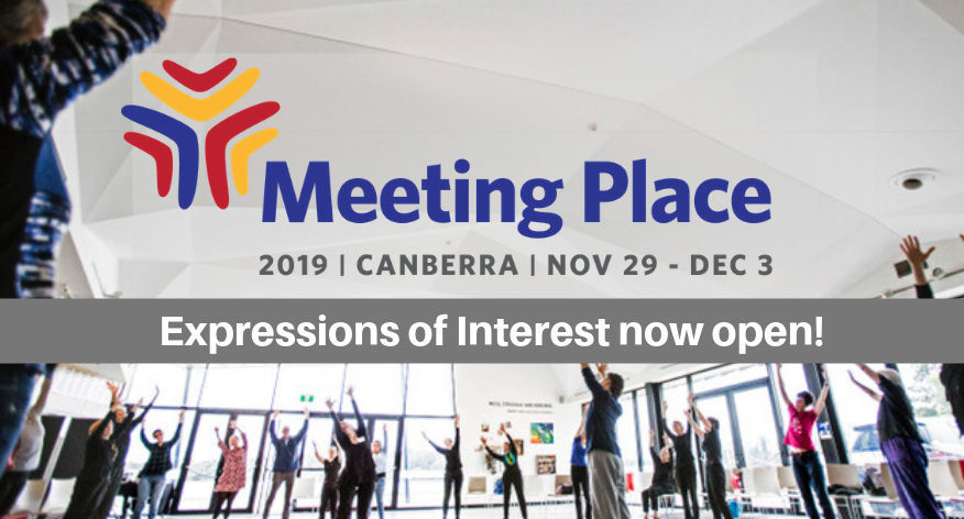 A large group of people with their arms stretched to the sky. Overlaid on the image is the Meeting Place logo and the words 'Expressions of Interest now open