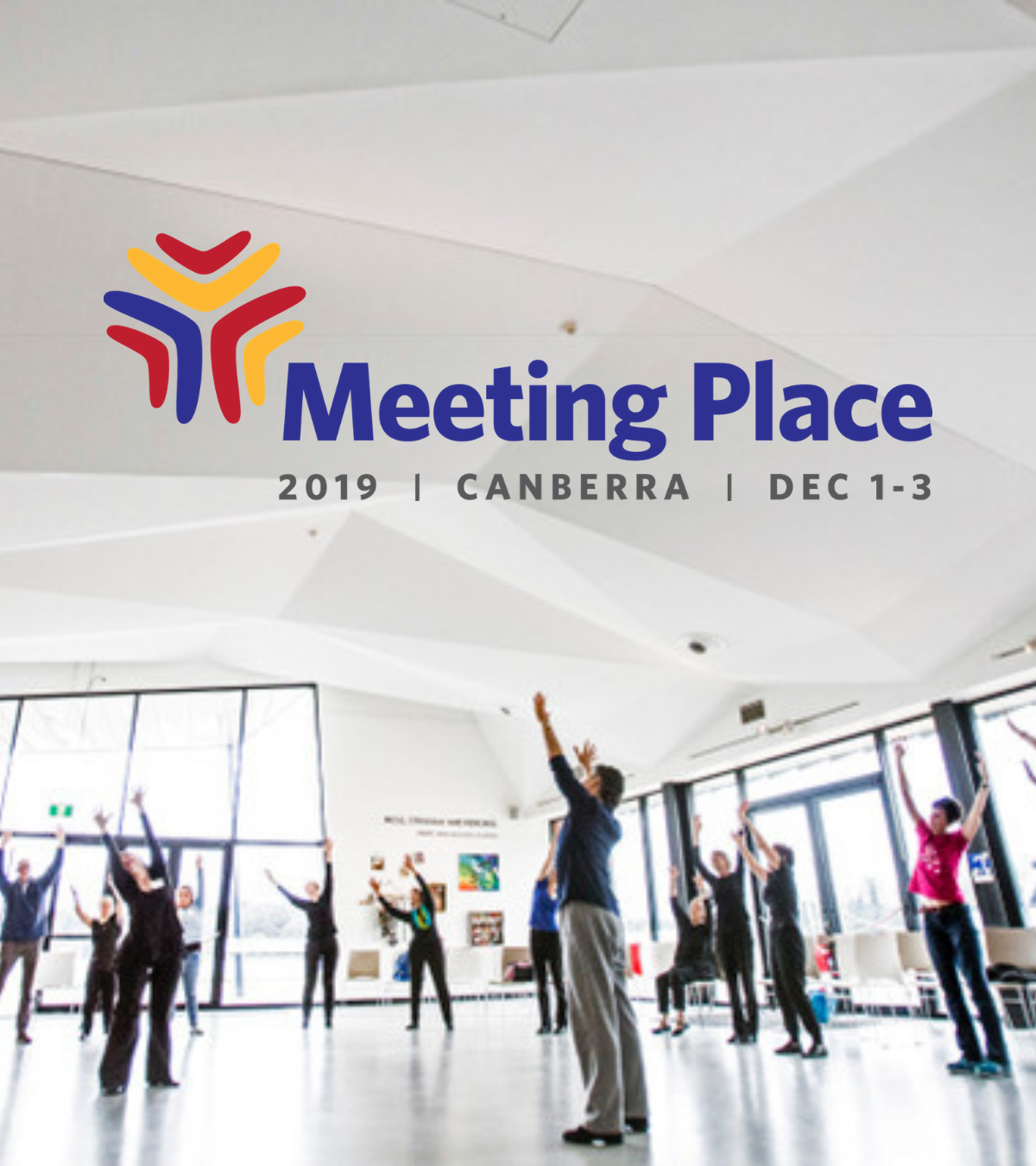 A large group of people with their arms stretched to the sky. Overlaid on the image is the Meeting Place logo.
