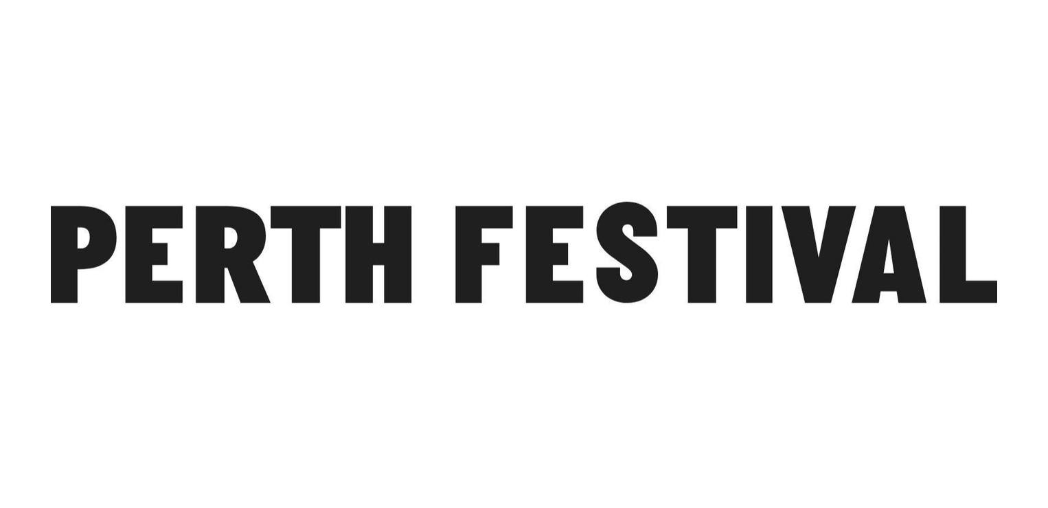 Black and white logo with words Perth Festival