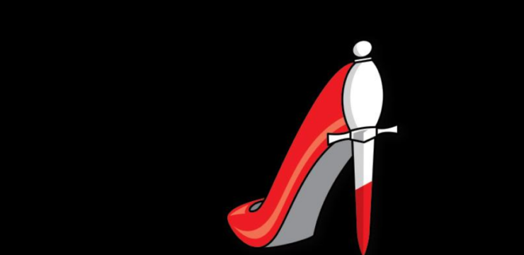 Graphic of a red stiletto on a black background