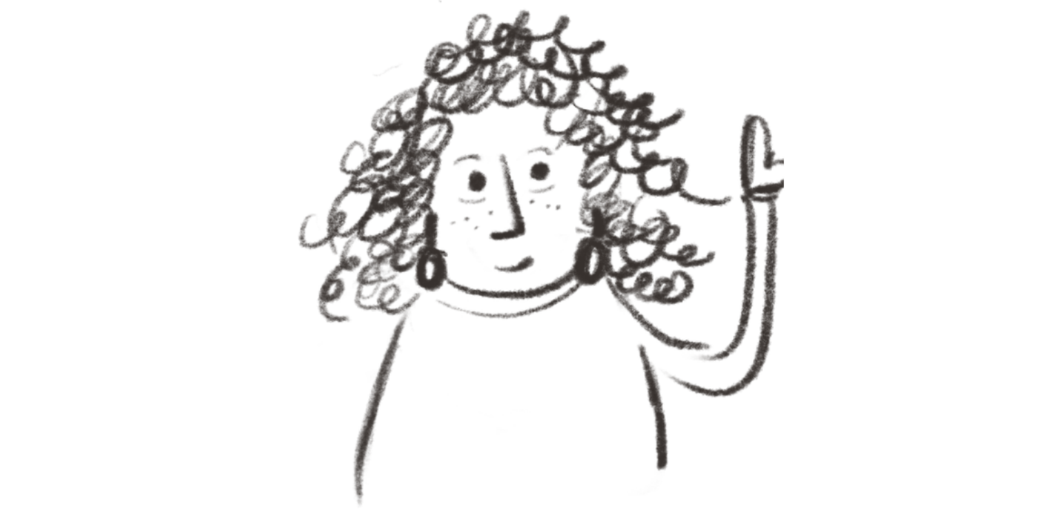 A scribbled drawing in black crayon of a woman with curly hair, long earrings and one arm raised with her hand pointing skywards.