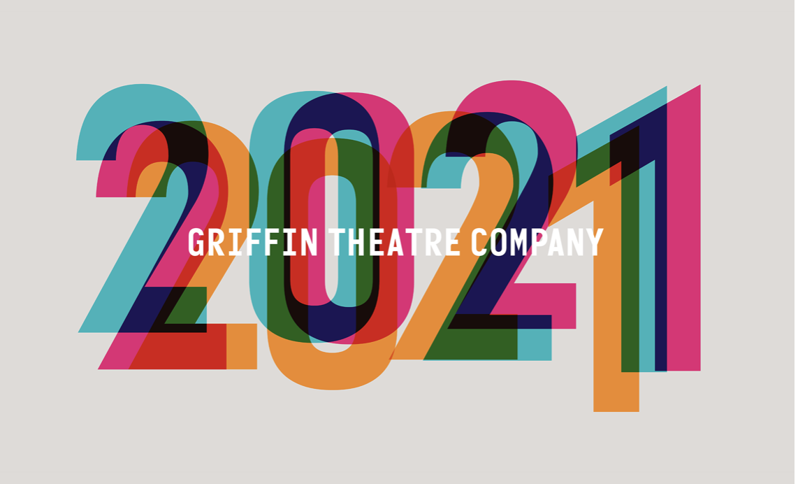 Graphic with the words Griffin Theatre Company in white, overlaid with a triple-overlaid print of 2021 in pink, blue and yellow