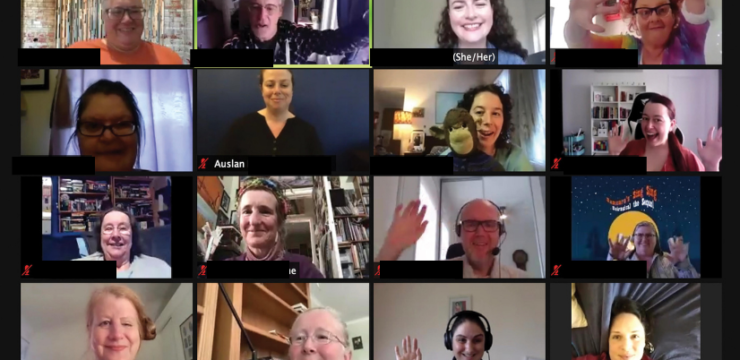 Screenshot of a Zoom grid of 12 people waving and smiling at the camera