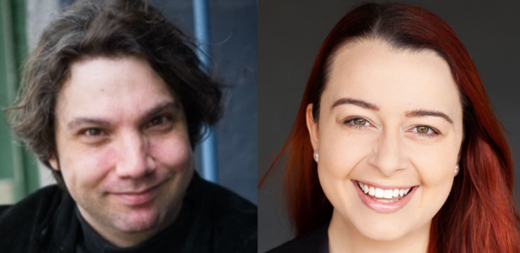 Two headshots side by side. On the left is a white skinned man with longish dark brown hair smiles at the camera. He is wearing a black top. On the right is A woman with white skin and long dyed red hair smiles at the camera.