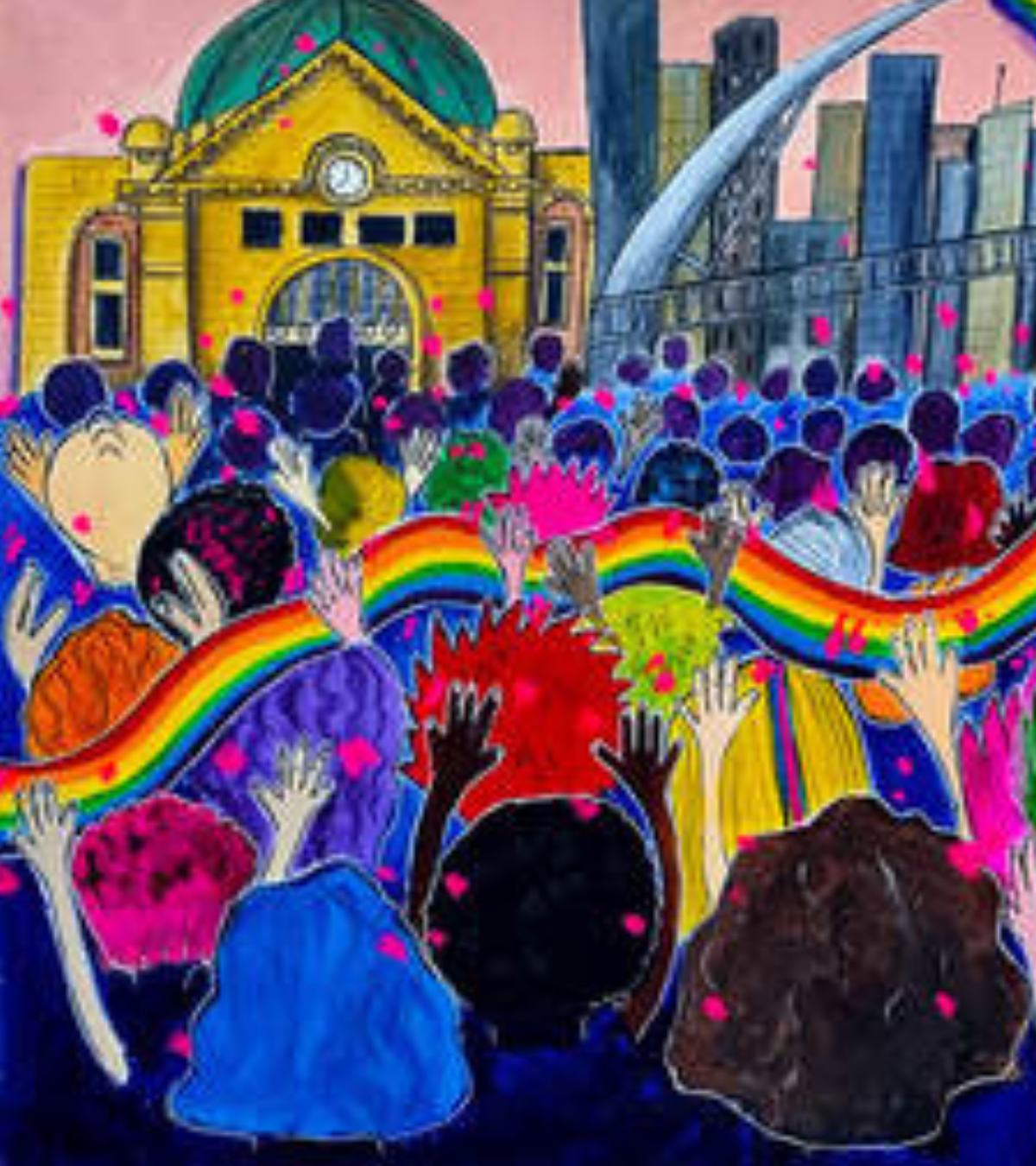 Artwork of a crowd of people with their hands in the air. In the distance is the Flinders St Railway station. There is a rainbow ribbon flowing over the crowd.